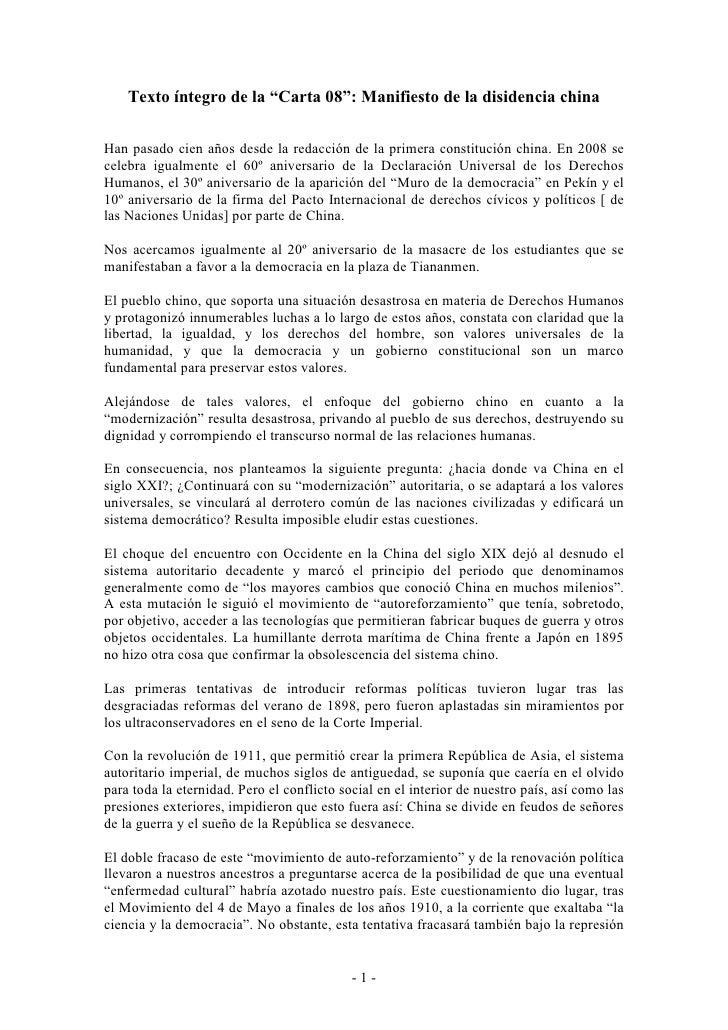"""Texto íntegro de la """"Carta 08"""": Manifiesto de la disidencia china  Han pasado cien años desde la redacción de la primera c..."""