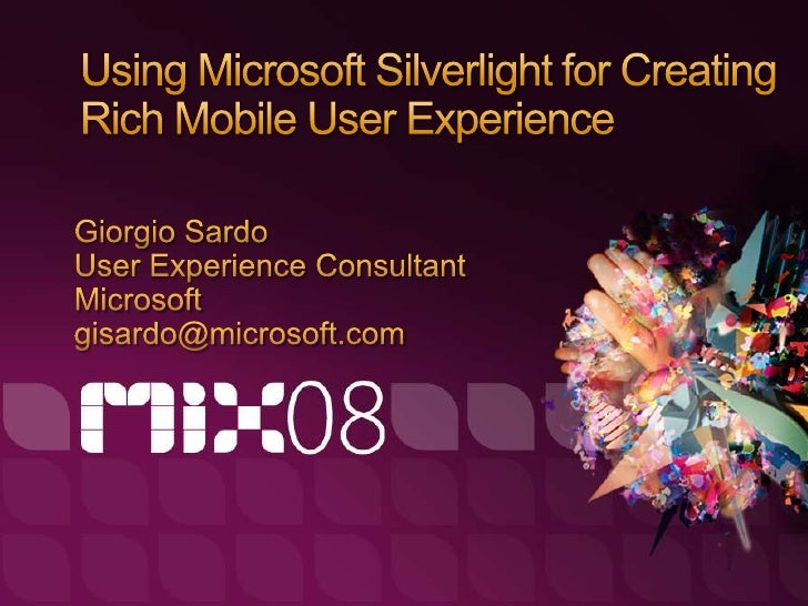 "Giorgio Sardo   UX Consultant   ""Devigner""     Developer + Designer   I quite fancy .NET     WPF, Silverlight, Mobile   I ..."