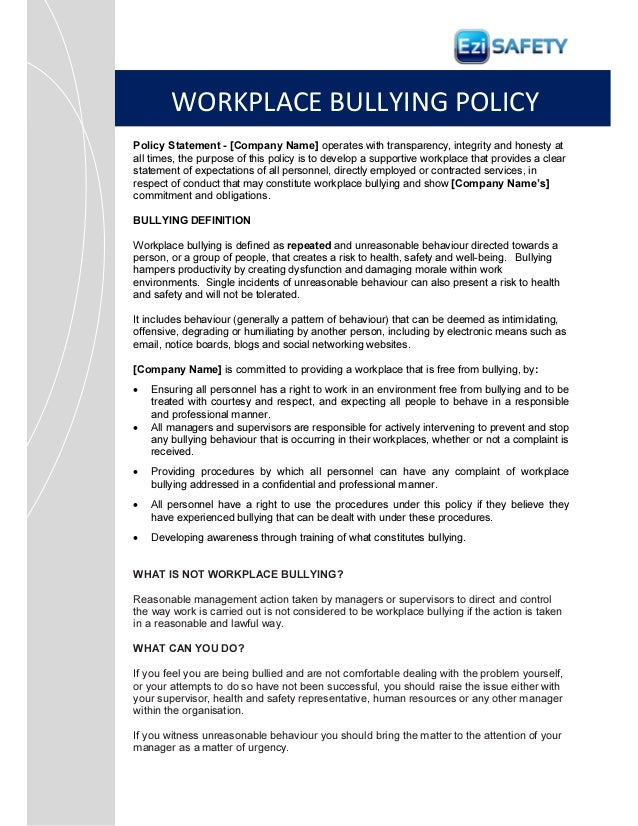 bullying and harassment policy template workplace bullying procedure policy and forms