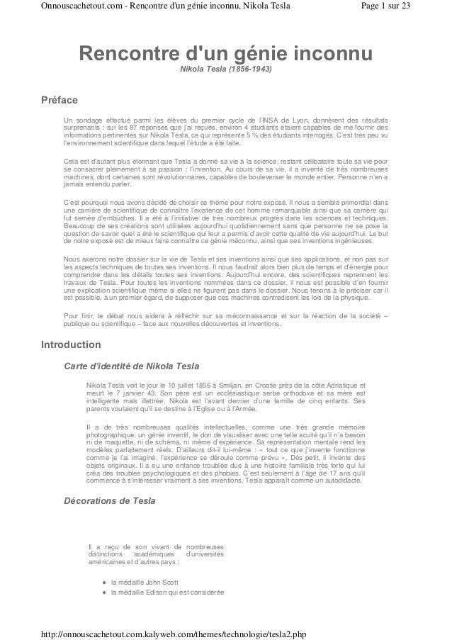 Onnouscachetout.com - Rencontre d'un génie inconnu, Nikola Tesla                                           Page 1 sur 23  ...