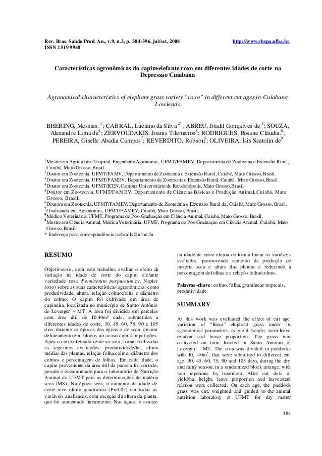 Rev. Bras. Saúde Prod. An., v.9, n.3, p. 384-396, jul/set, 2008 http://www.rbspa.ufba.br ISSN 1519 9940 384 Característica...