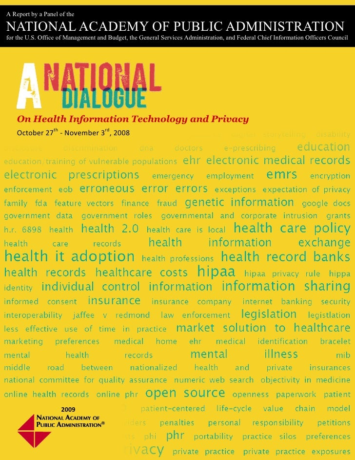A National Dialogue on Health IT and Privacy - Final Panel Report