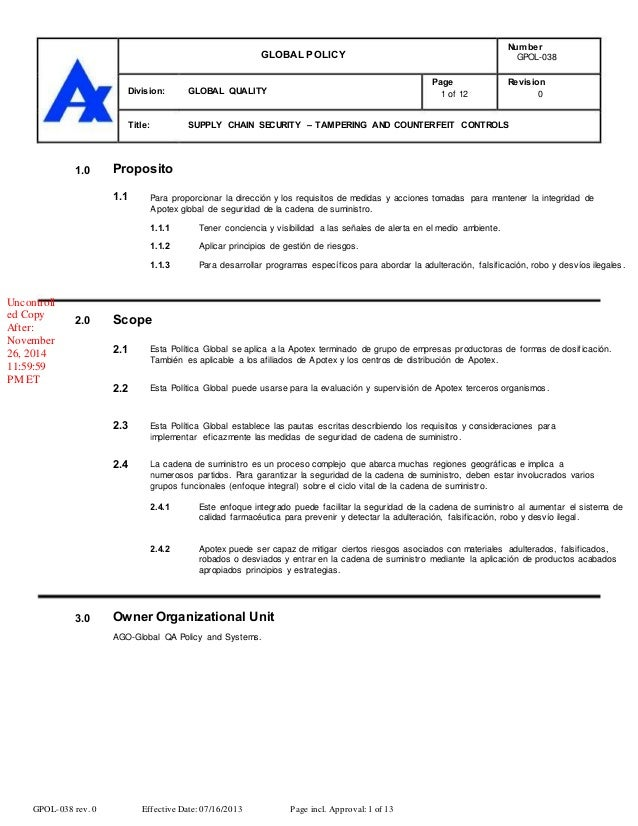 GLOBAL POLICY Division: Title: GLOBAL QUALITY Page 1 of 12 Number GPOL-038 Revision 0 SUPPLY CHAIN SECURITY – TAMPERING AN...