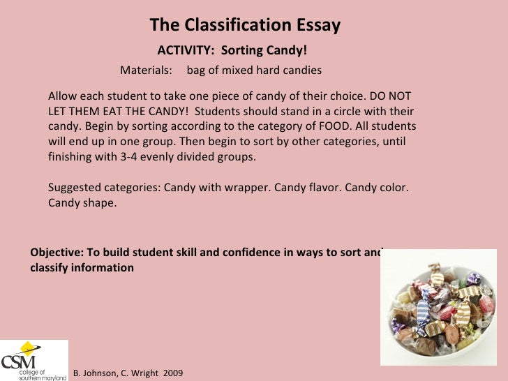 classification essay food A new classification for tortillas was established by the economic classification policy committee of the office of management and budget tortillas used to be listed under the category: food preparations not elsewhere classified, but by the year 1997 this changed.