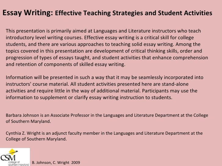 essays on effective teaching Suggestions for teaching college writing: 1 teaching writing as a liberal art: ideas that made the difference a teaching thinking through effective questioning, 2nd ed (norwood, ma: christoper-gordon publishers, inc, 1995.