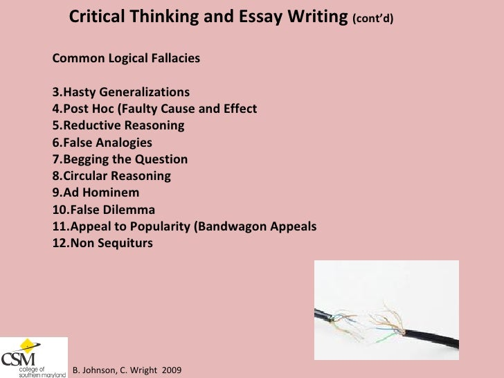 College level critical thinking class essay help?