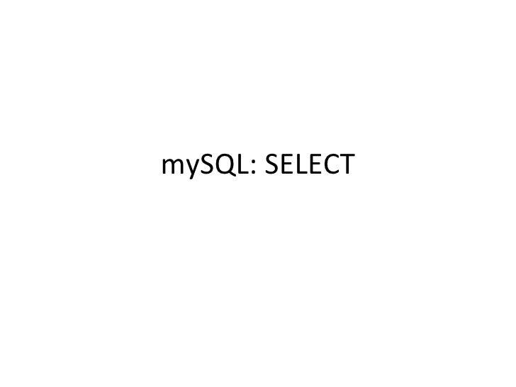 mySQL: SELECT