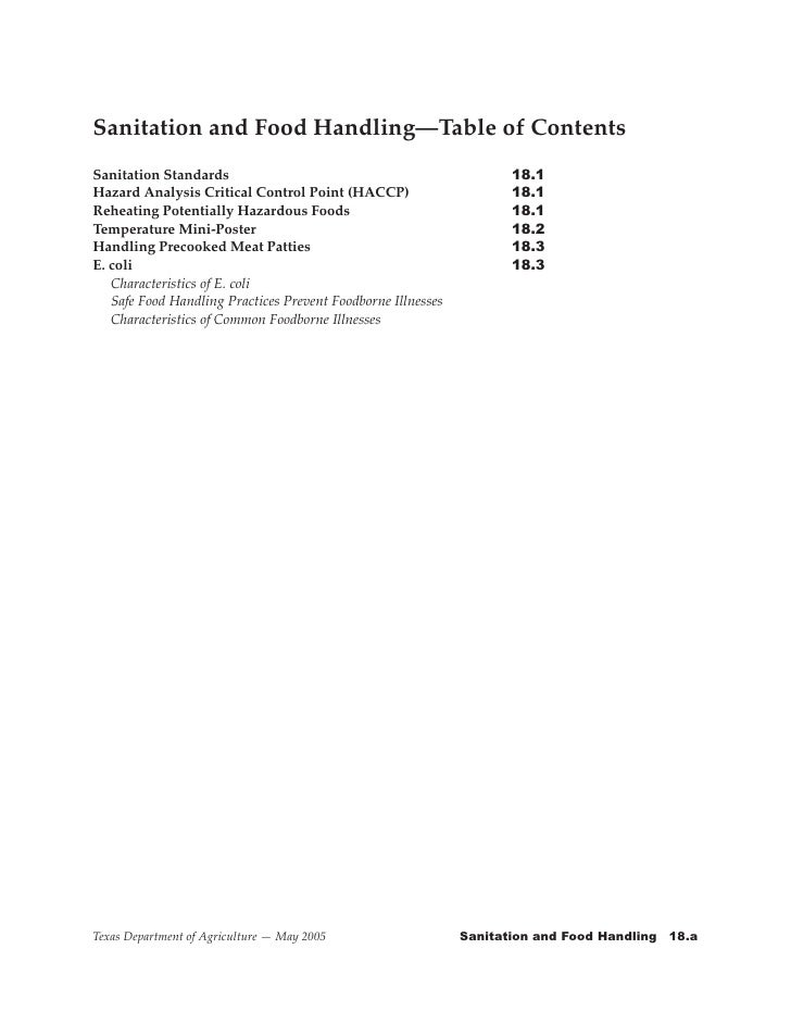 Sanitation and Food Handling—Table of Contents Sanitation Standards                                   	      	      18.1 H...
