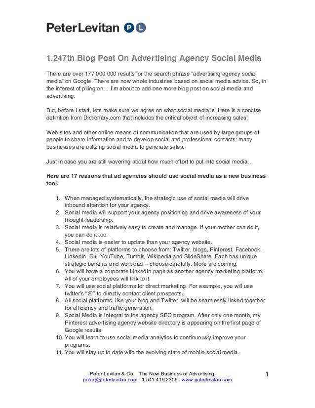 1,247th Blog Post On Advertising Agency Social Media