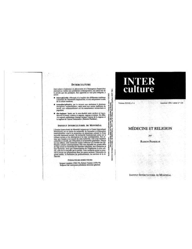 125 médecine et religion. r. panikkar. (document à télécharger en format