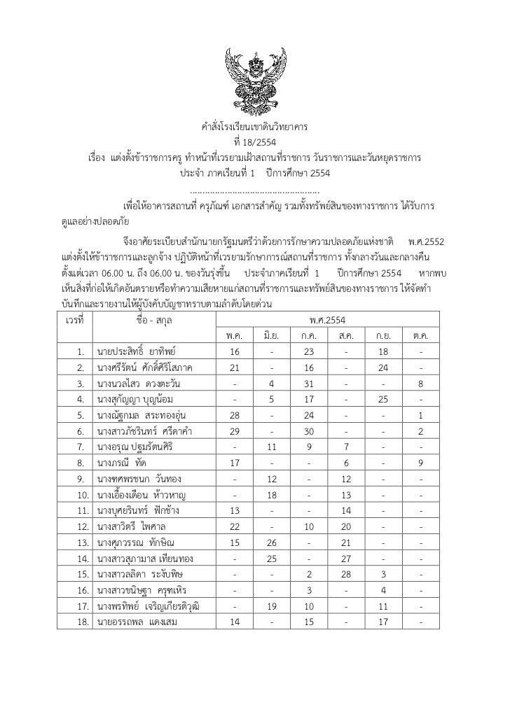 คาสั่งโรงเรียนเขาดินวิทยาคาร                                               ที่ 18/2554      เรื่อง แต่งตั้งข้าราชการครู ทา...