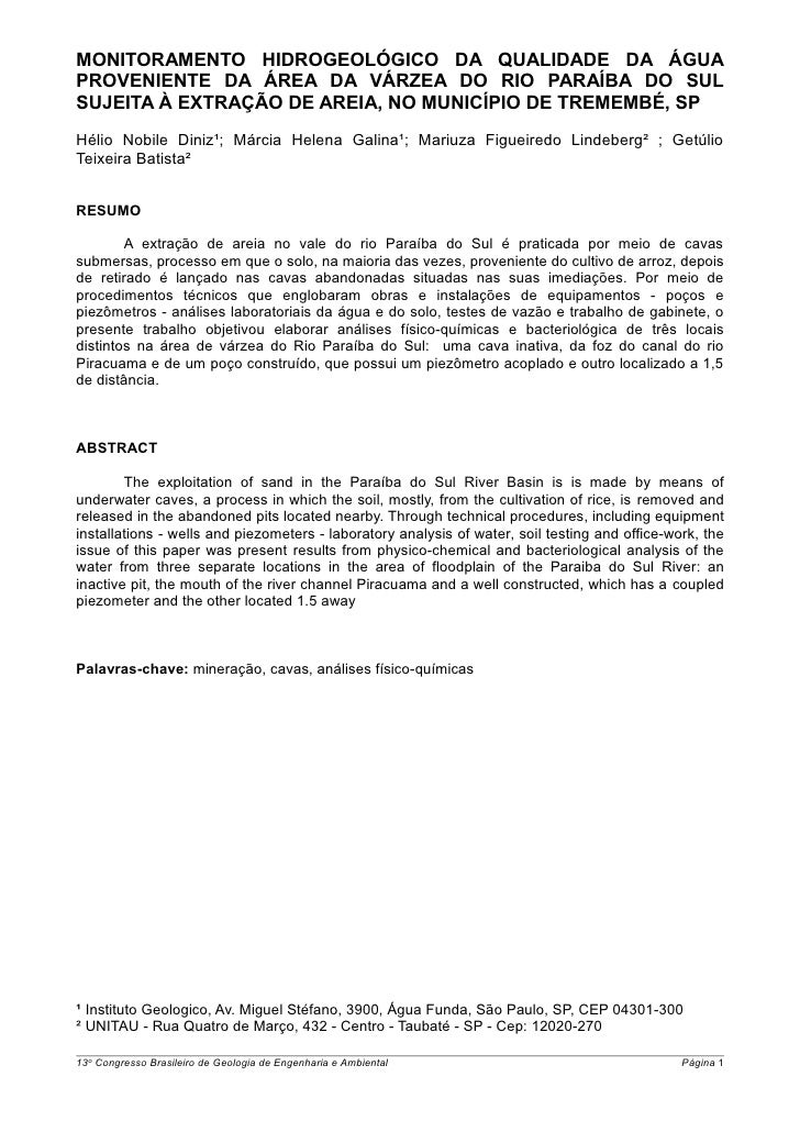 MONITORAMENTO HIDROGEOLÓGICO DA QUALIDADE DA ÁGUAPROVENIENTE DA ÁREA DA VÁRZEA DO RIO PARAÍBA DO SULSUJEITA À EXTRAÇÃO DE ...