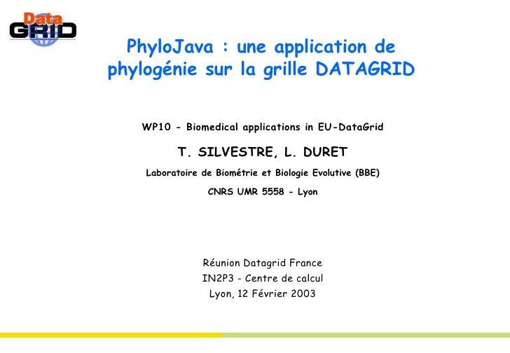 PhyloJava : une application de phylogénie sur la grille DATAGRID WP10 - Biomedical applications in EU-DataGrid T. SILVESTR...