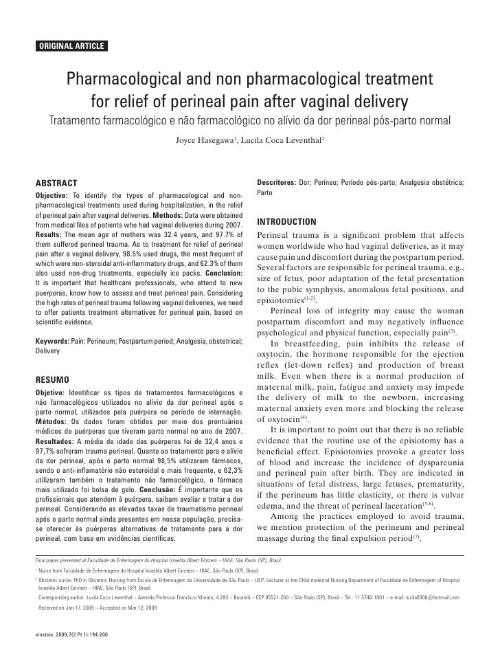 Original Article              Pharmacological and non pharmacological treatment                 for relief of perineal pai...