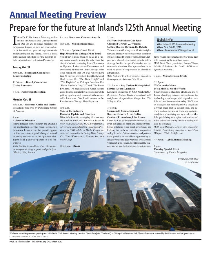 Annual Meeting PreviewPrepare for the future at Inland's 125th Annual Meeting   I        nland's 125th Annual Meeting, to ...