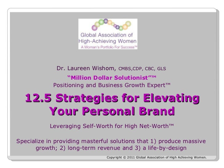 Copyright © 2011 Global Association of High Achieving Women.  Dr. Laureen Wishom,  CMBS,CDP, CBC, GLS  Leveraging Self-Wor...