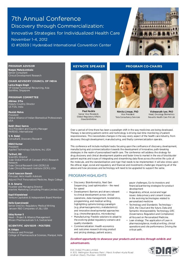 7th Annual Conference  Discovery through Commercialization:  Innovative Strategies for Individualized Health Care  Novembe...