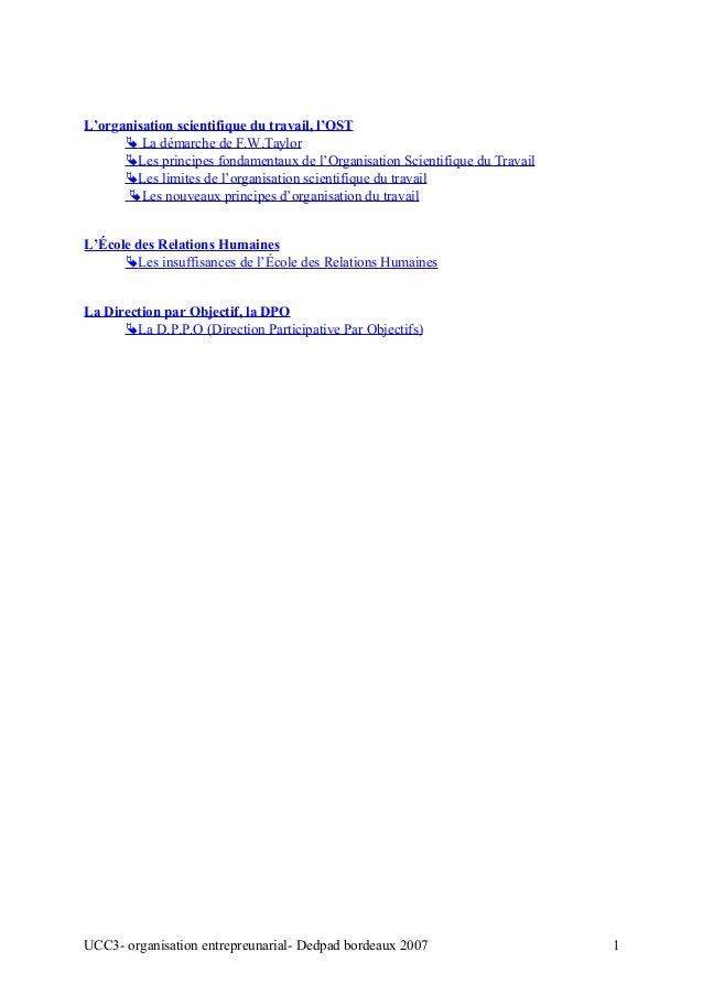 L'organisation scientifique du travail, l'OST  La démarche de F.W.Taylor Les principes fondamentaux de l'Organisation Sc...