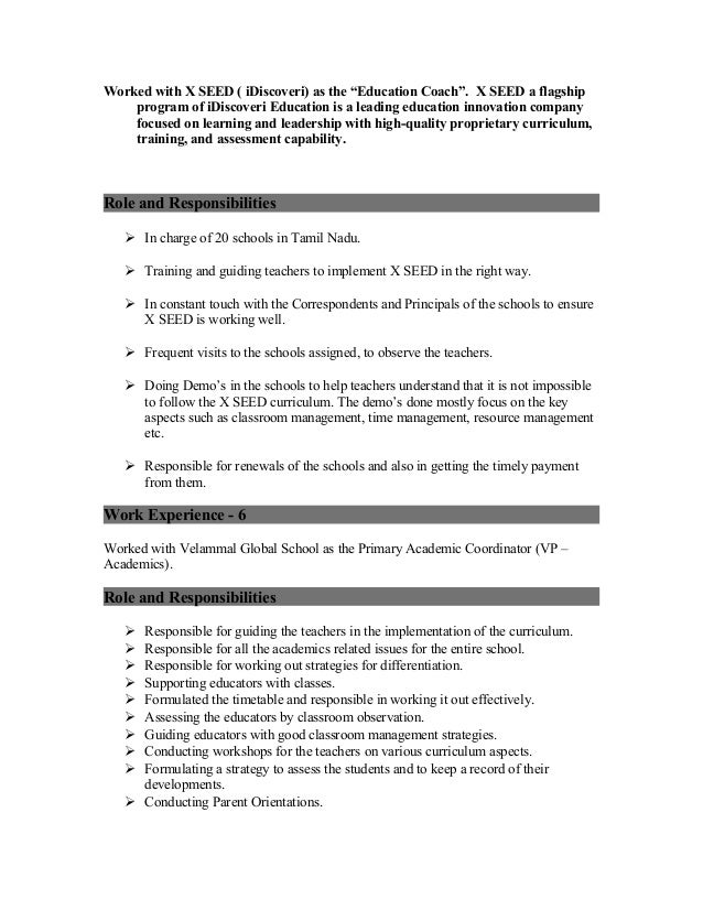 Resume for the post of sales coordinator