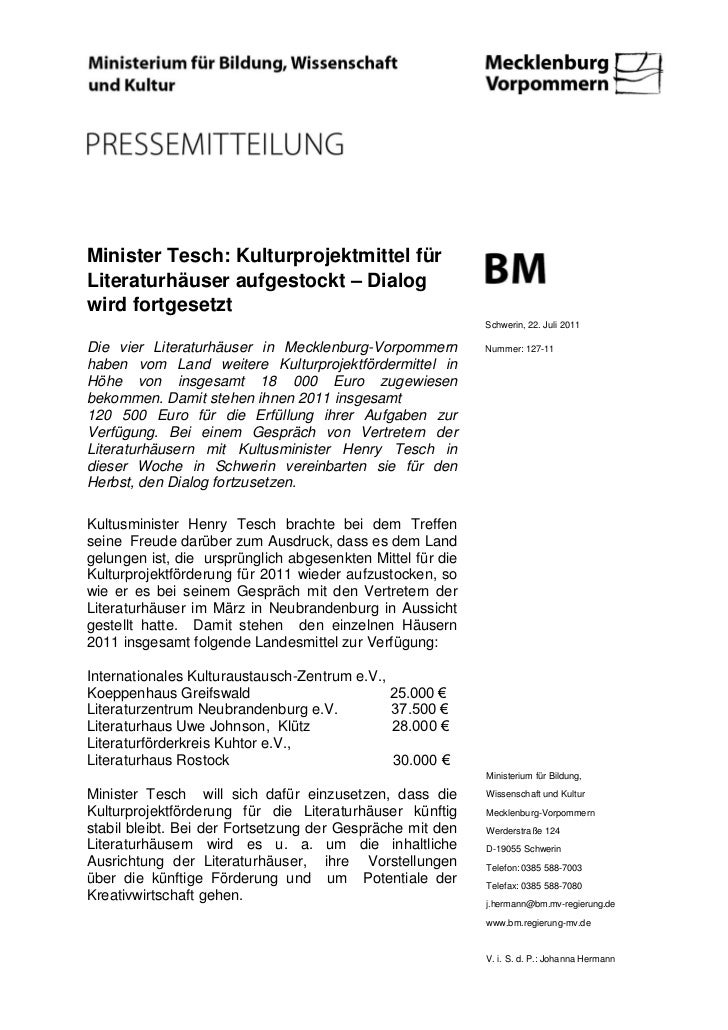 Minister Tesch: Kulturprojektmittel fürLiteraturhäuser aufgestockt – Dialogwird fortgesetzt                               ...