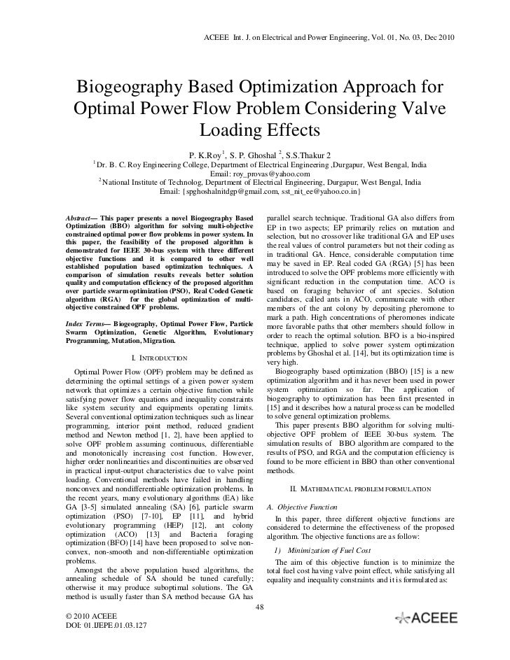 ACEEE Int. J. on Electrical and Power Engineering, Vol. 01, No. 03, Dec 2010  Biogeography Based Optimization Approach for...