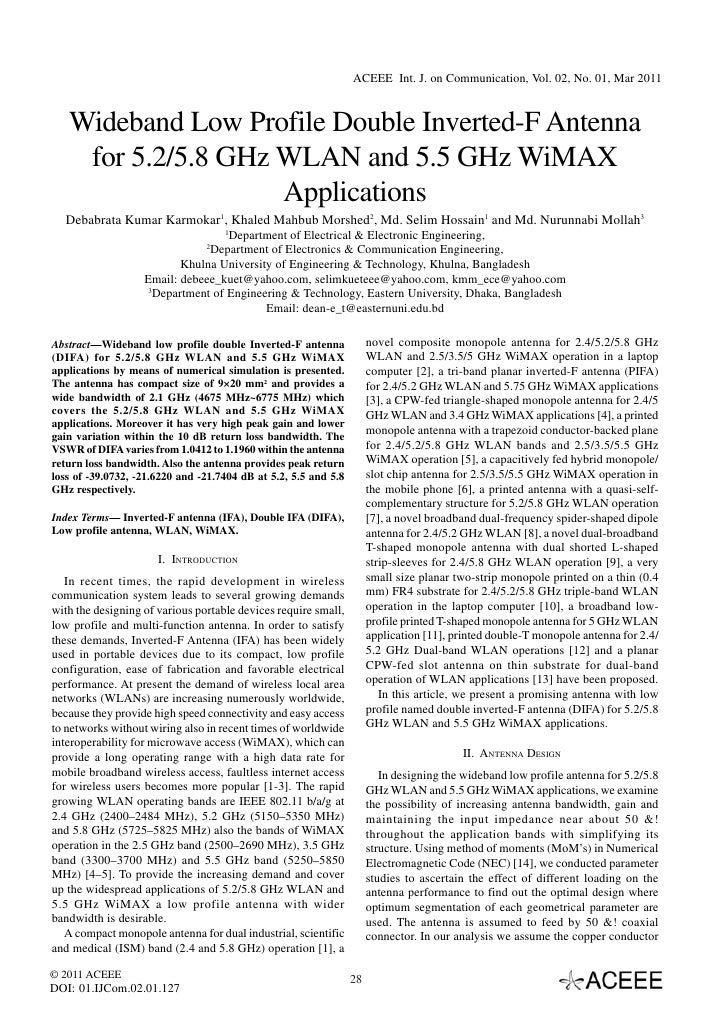 ACEEE Int. J. on Communication, Vol. 02, No. 01, Mar 2011   Wideband Low Profile Double Inverted-F Antenna    for 5.2/5.8 ...