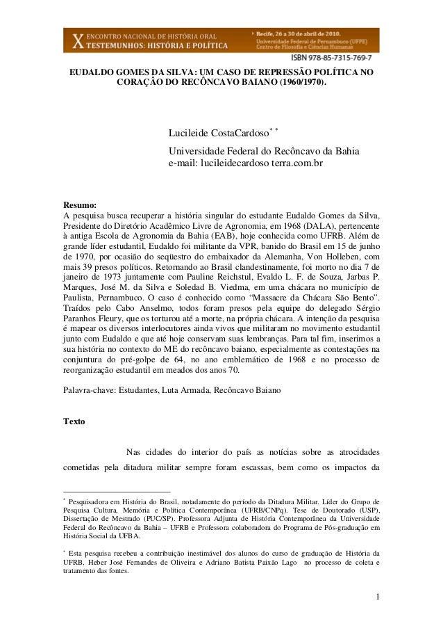 EUDALDO GOMES DA SILVA: UM CASO DE REPRESSÃO POLÍTICA NO            CORAÇÂO DO RECÔNCAVO BAIANO (1960/1970).              ...