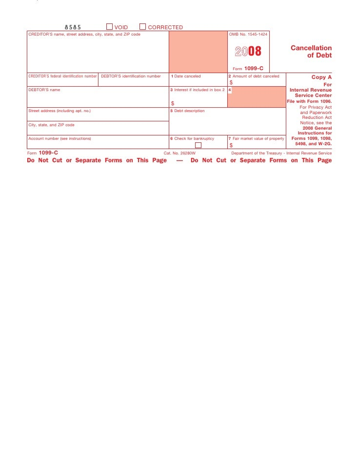 What Does Form 1099 C Cancellation Of Debt Mean Image Collections