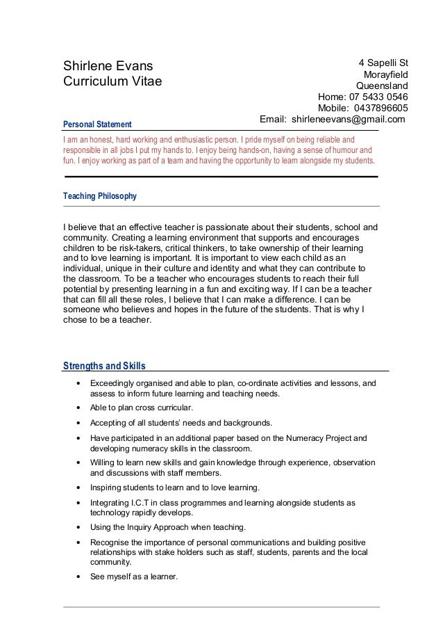 teacher cv personal statement examples