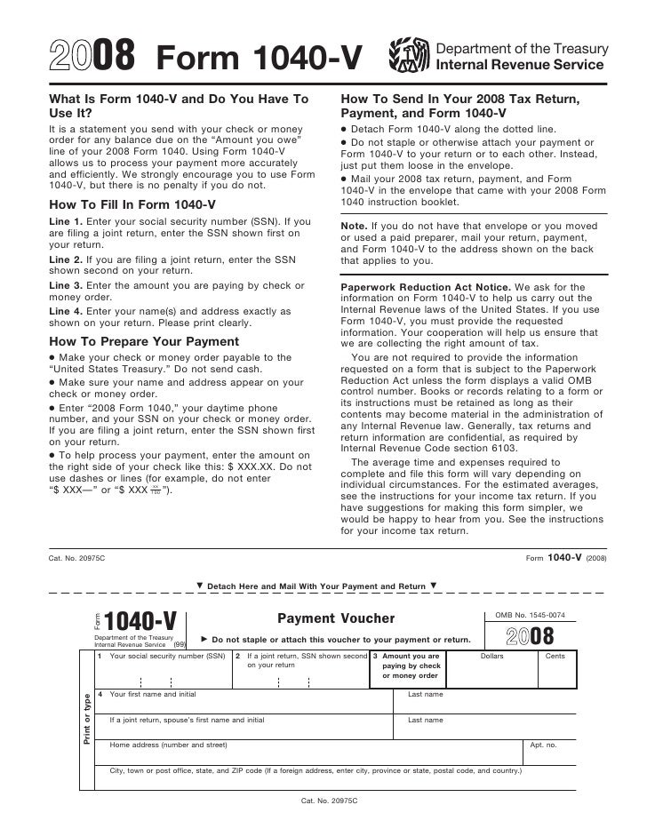 Irs Form 1040 V Payment Voucher Wiki Irs Form 1040 V Payment