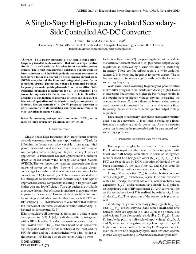 A Single-Stage High-Frequency Isolated Secondary- Side Controlled AC-DC Converter