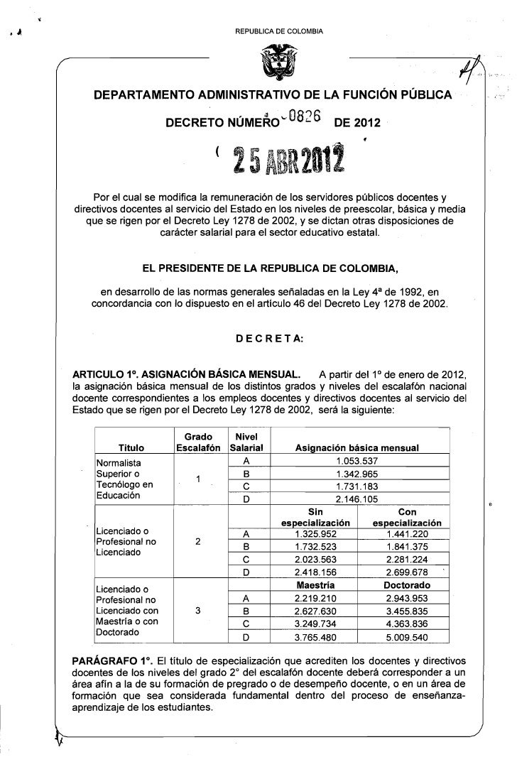 Decreto Salarios 1278 dto 00826   de abril 25 de 2012