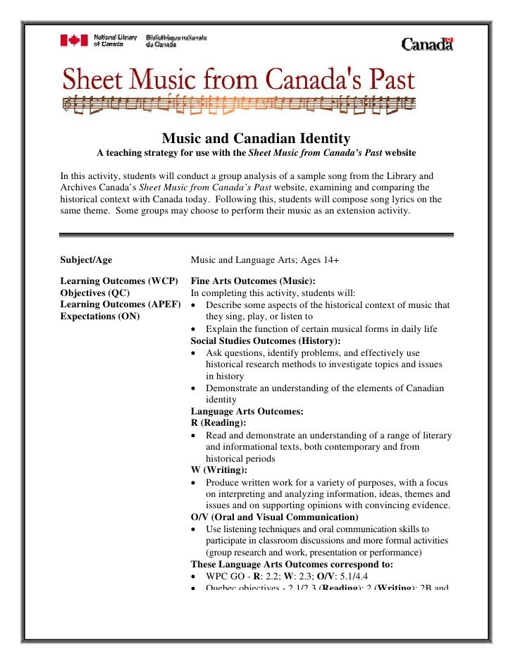 Music and Canadian Identity         A teaching strategy for use with the Sheet Music from Canada's Past website  In this a...