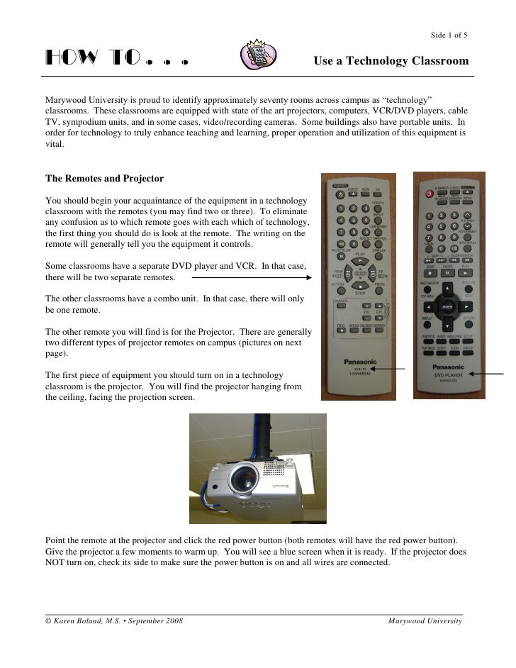 Side 1 of 5   HOW TO . . .                                                               Use a Technology Classroom   Mary...