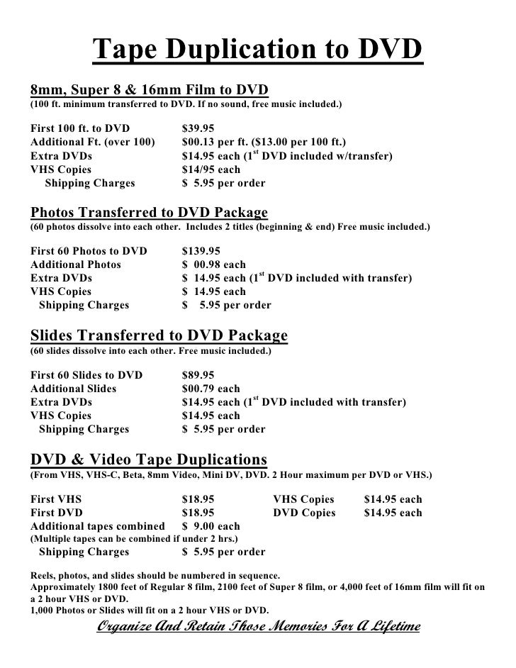 Tape Duplication to DVD 8mm, Super 8 & 16mm Film to DVD (100 ft. minimum transferred to DVD. If no sound, free music inclu...