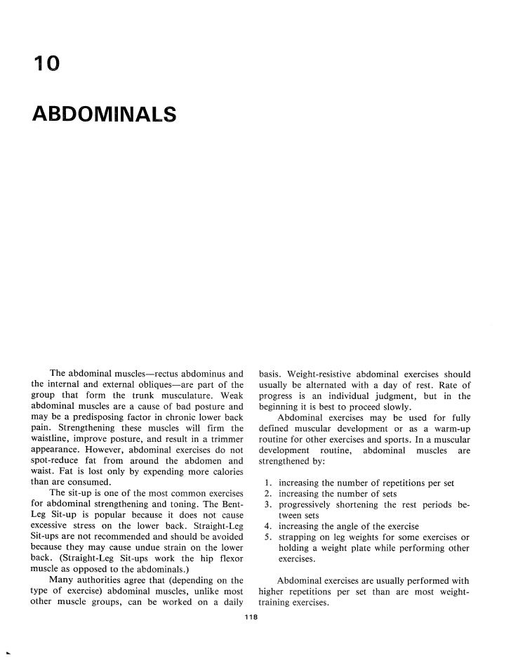 10  ABDOMINALS           The abdominal muscles—rectus abdominus and             basis . Weight-resistive abdominal exercis...