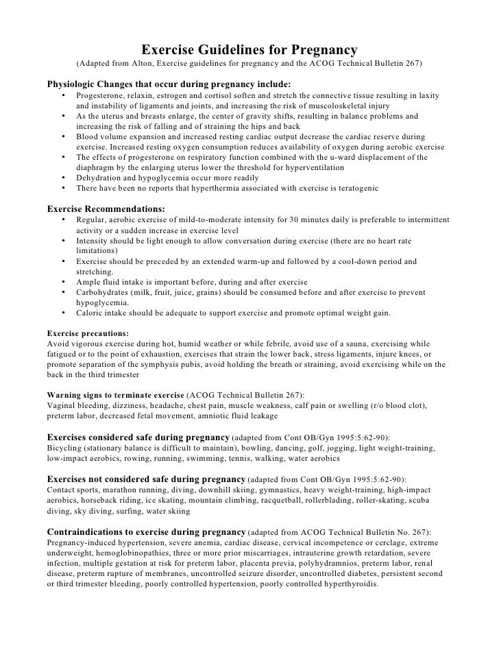 Exercise Guidelines for Pregnancy         (Adapted from Alton, Exercise guidelines for pregnancy and the ACOG Technical Bu...