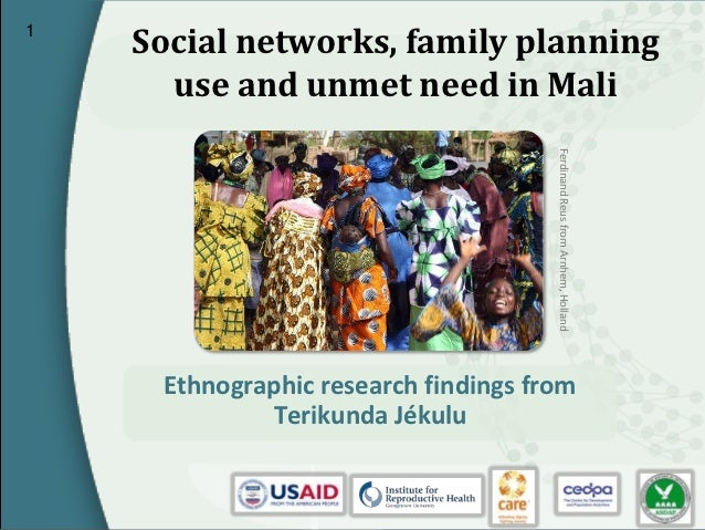 1    Social networks, family planning      use and unmet need in Mali                                      Ferdinand Reus ...