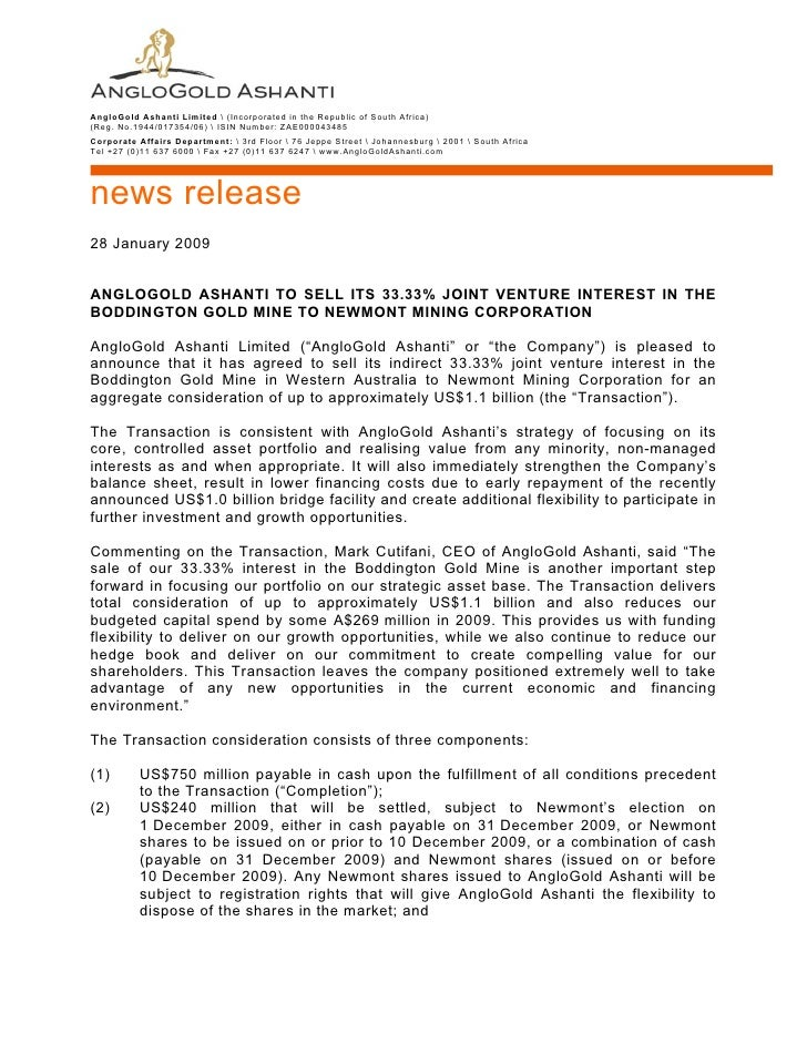 AngloGold Ashanti Limited  (Incorporated in the Republic of South Africa) (Reg. No.1944/017354/06)  ISIN Number: ZAE000043...