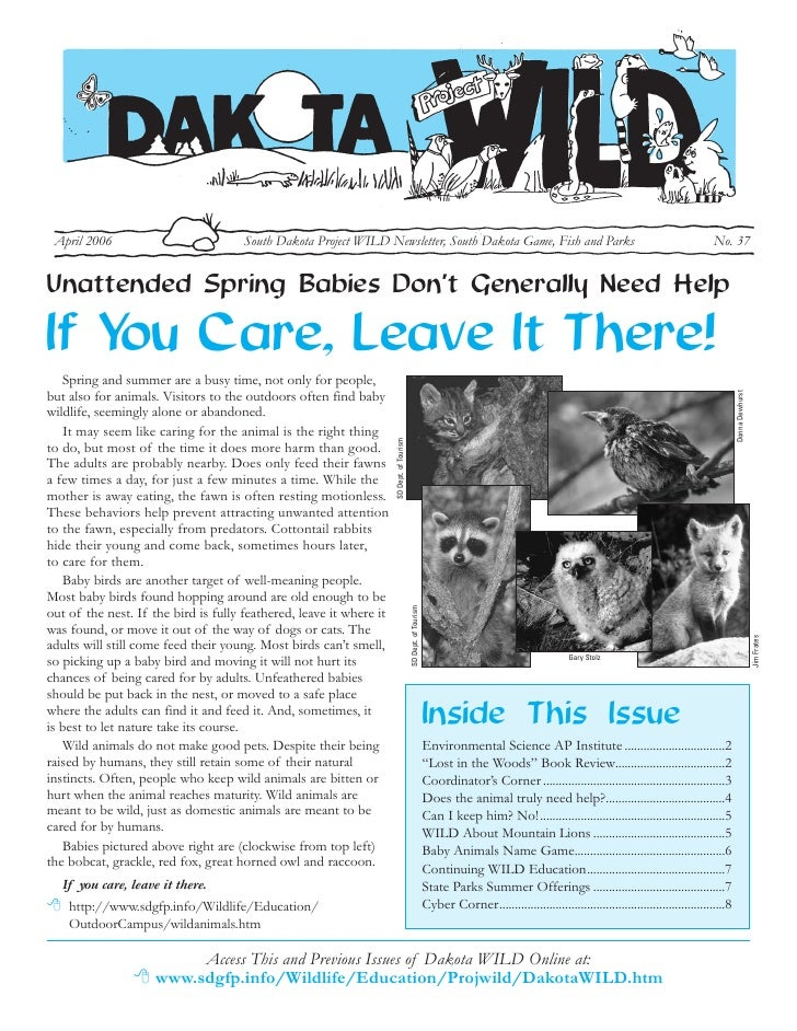 April 2006                           South Dakota Project WILD Newsletter, South Dakota Game, Fish and Parks              ...
