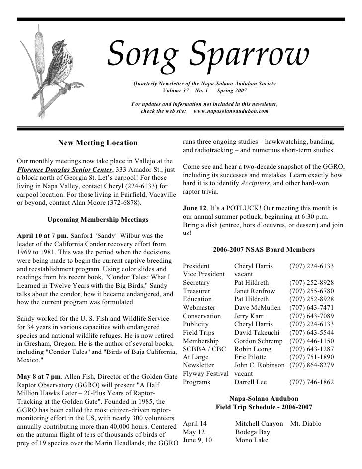 Song Sparrow                                           Quarterly Newsletter of the Napa-Solano Audubon Society            ...