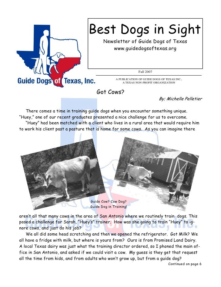 Best Dogs in Sight                                           Newsletter of Guide Dogs of Texas                            ...