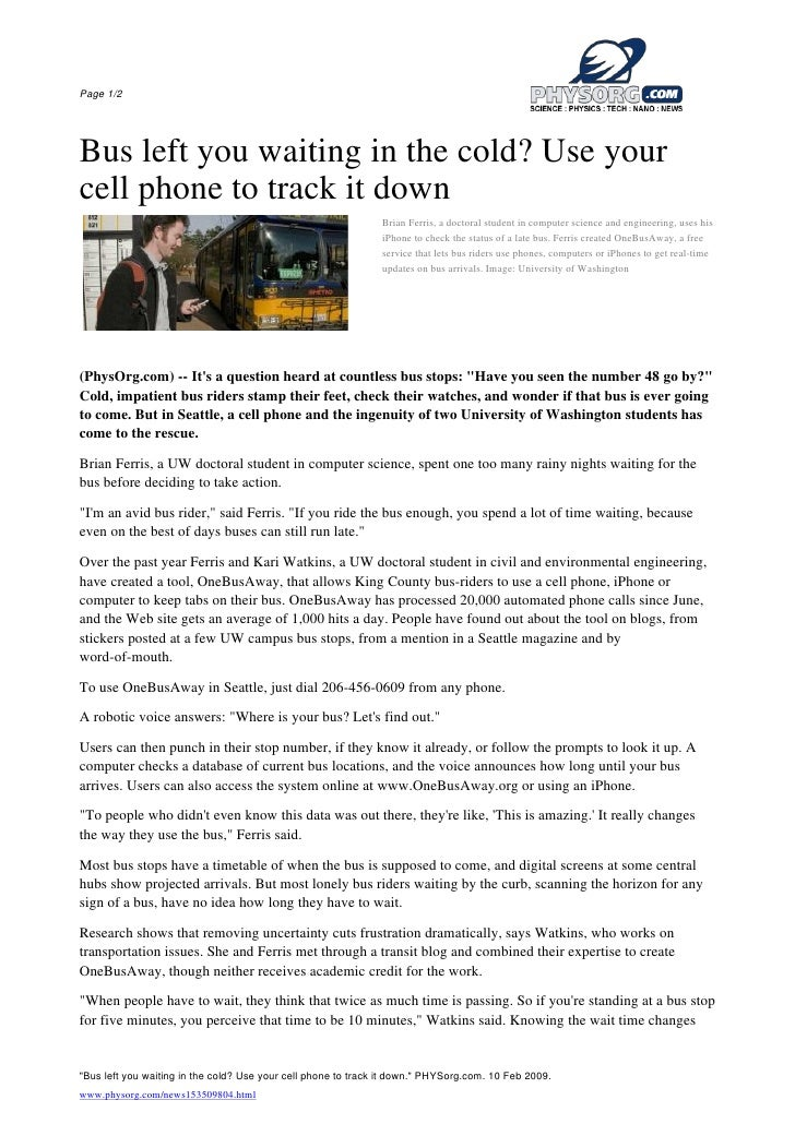 Page 1/2     Bus left you waiting in the cold? Use your cell phone to track it down                                       ...