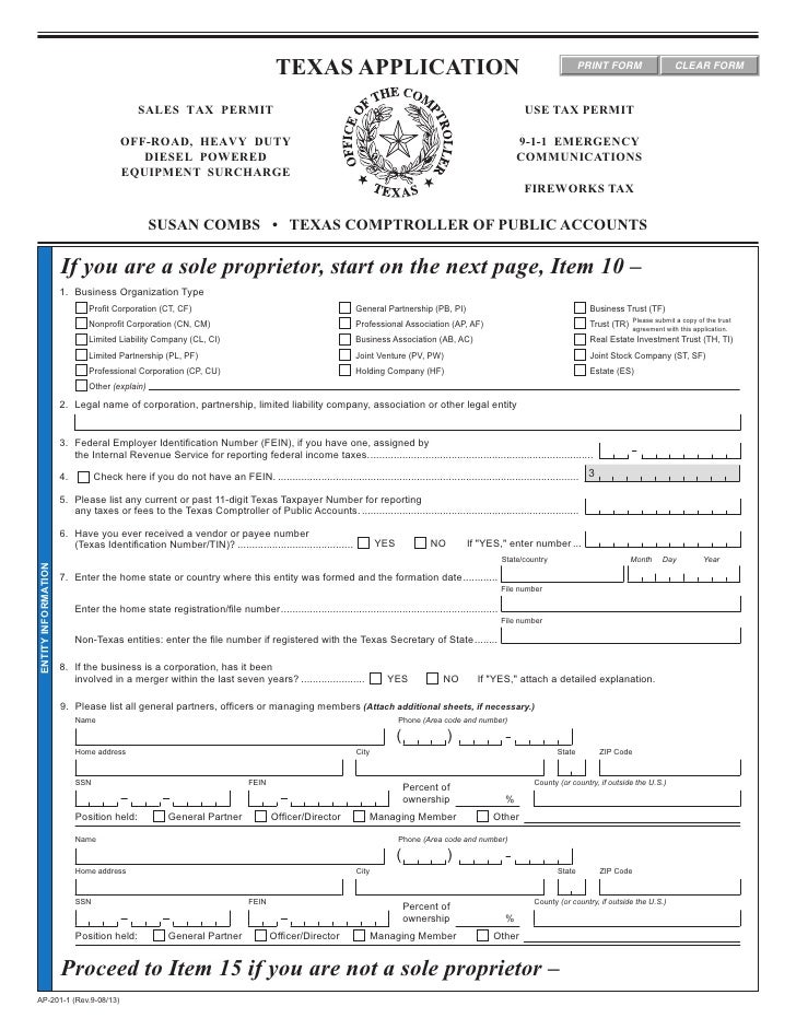 Texas Fireworks Tax Forms-AP-201 Texas Application for Sales Tax Permit, Use Tax Permit, and/or Telecommunications Infrastructure Fund Assessment