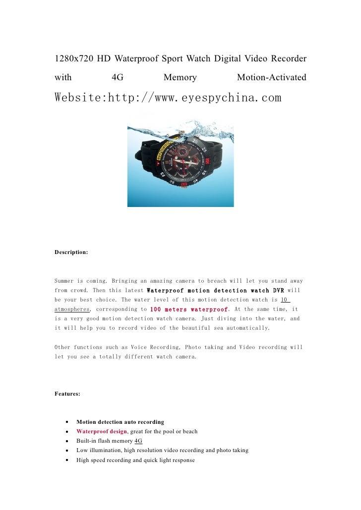 1280x720 HD Waterproof Sport Watch Digital Video Recorder with                4G                  Memory                  ...