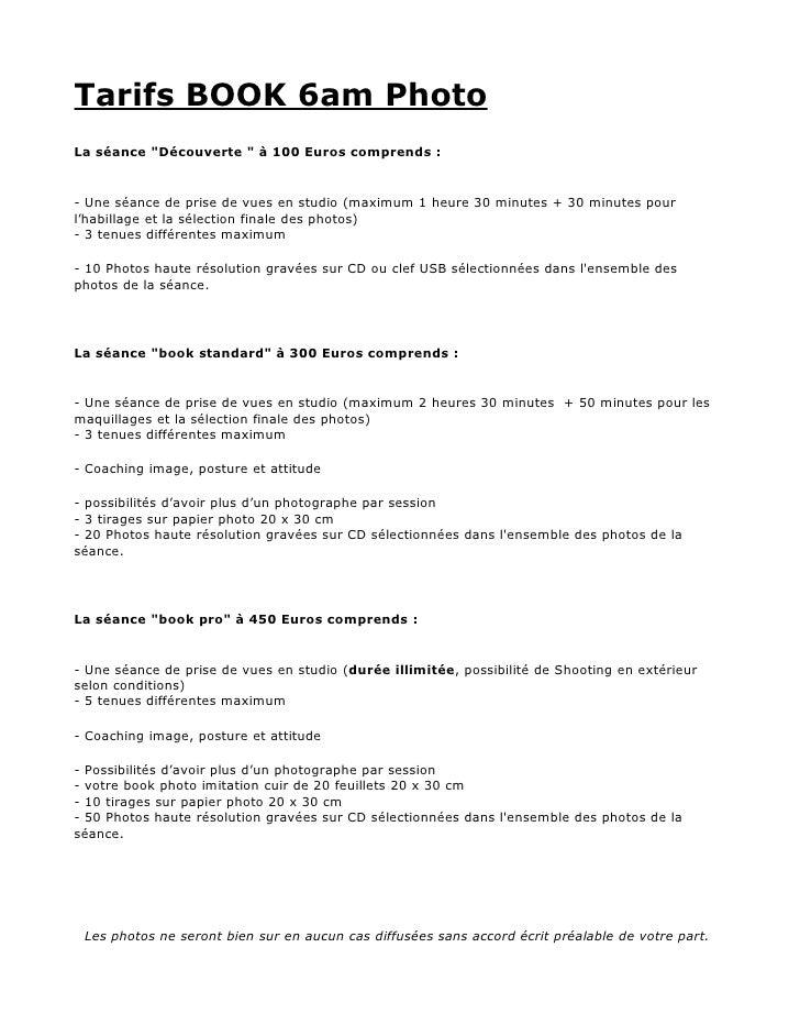 """Tarifs BOOK 6am PhotoLa séance """"Découverte """" à 100 Euros comprends :- Une séance de prise de vues en studio (maximum 1 heu..."""