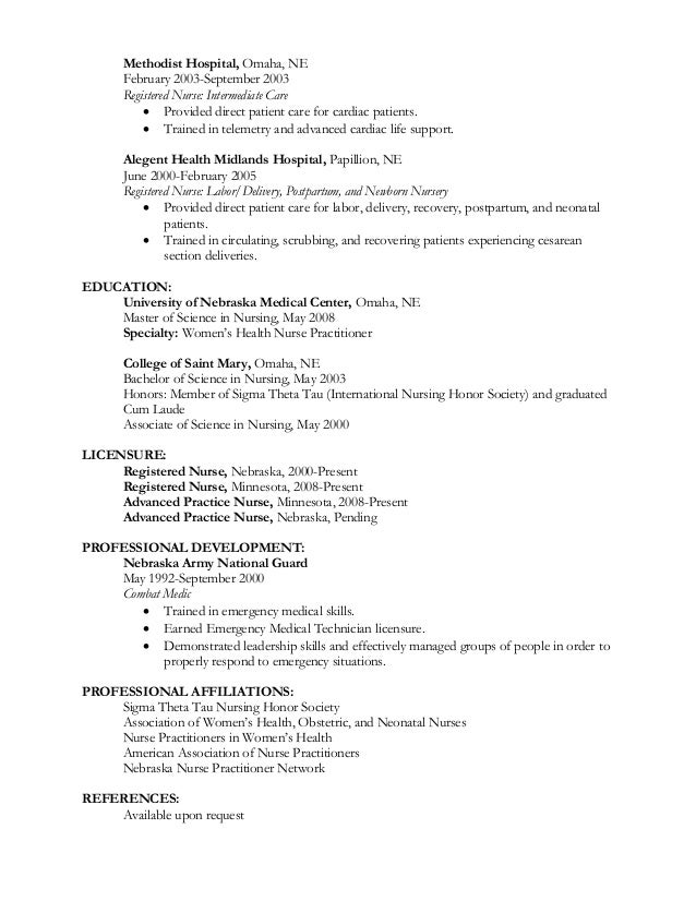 med surg nurse resume