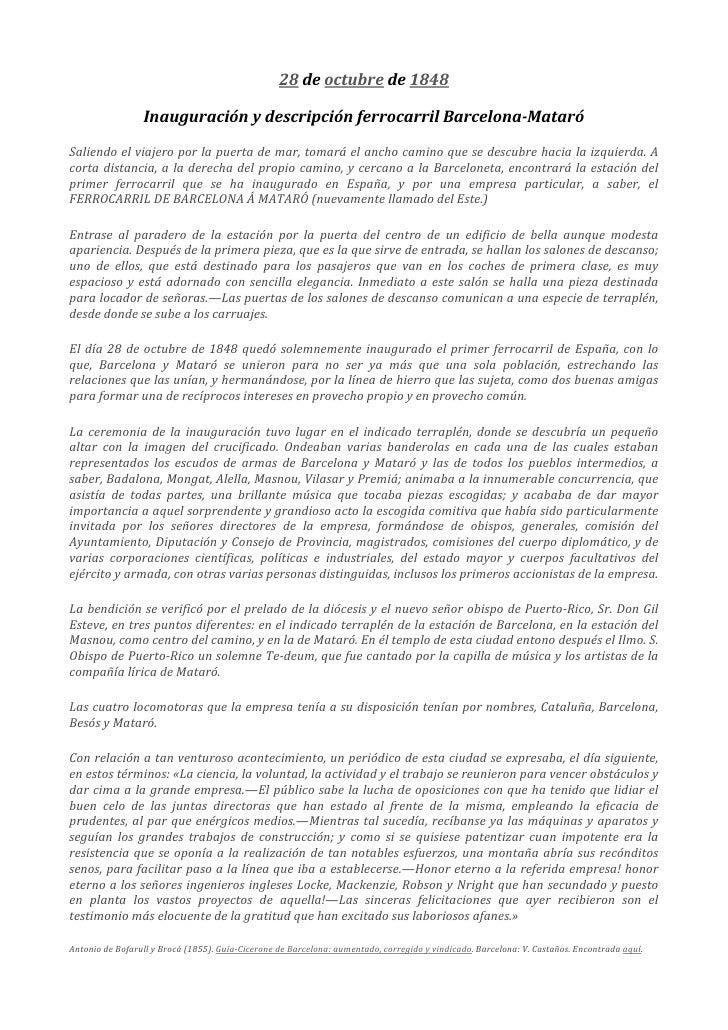 28 de octubre de 1848                          Inauguración y descripción ferrocarril Barcelona-Mataró...