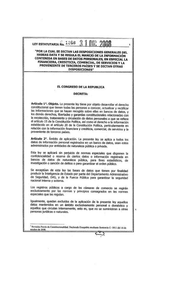 Ley 1266 de 2008