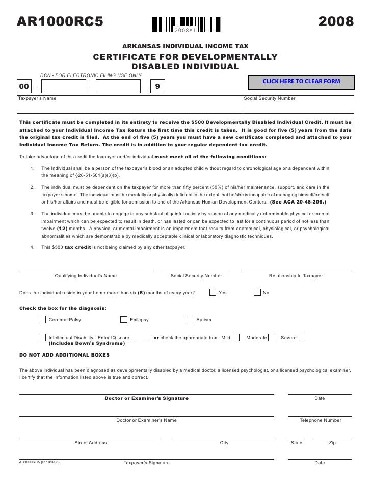 AR1000RC5 - Developmentally Disabled Individual Certificate
